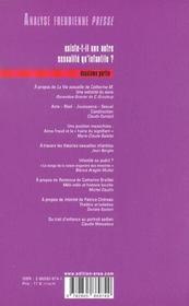 Analyse Freudienne - 4ème de couverture - Format classique