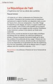 La République de l'oeil ; l'expérience de l'art au siècle des lumières - 4ème de couverture - Format classique