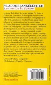 Traité des vertus t.2 ; les vertus et l'amour t.2 - 4ème de couverture - Format classique