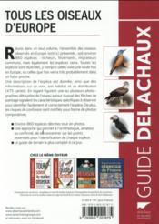 Tous les oiseaux d'Europe - 4ème de couverture - Format classique