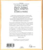 Les petites et grandes questions de Boris et Maurice ; contes philosophiques pour enfants - 4ème de couverture - Format classique