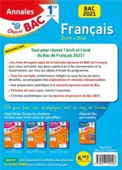 Objectif bac ; français ; 1re générale ; annales (édition 2021) - 4ème de couverture - Format classique