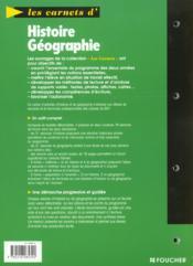 Les Carnets D'Histoire Et De Geographie ; 2e Professionnelle Et Terminale ; Bep Tertiaires Et Industriels - 4ème de couverture - Format classique
