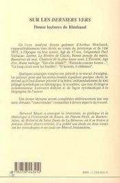 Sur Les Derniers Vers ; Douze Lectures De Rimbaud - 4ème de couverture - Format classique