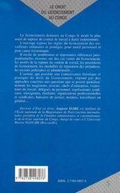 Le Droit Du Licenciement Au Congo - 4ème de couverture - Format classique