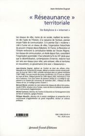 Réseaunance territoriale ; de babylone à internet - 4ème de couverture - Format classique
