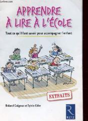 Apprendre A Lire A L'Ecole - Couverture - Format classique