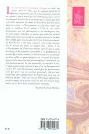 Contribution a la theorie generale de l'etat - 4ème de couverture - Format classique