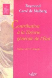 Contribution a la theorie generale de l'etat - Couverture - Format classique