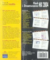 Trucs et astuces inédits pour flash et dreamweaver mx 2004 - 4ème de couverture - Format classique