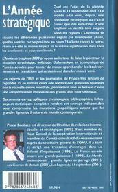 L'Annee Strategique 2003 ; Analyse Des Enjeux Strategiques Diplomatiques Et Economiques - 4ème de couverture - Format classique