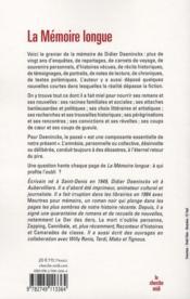 La mémoire longue ; textes et images 1986-2008 - 4ème de couverture - Format classique