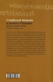 L'embryon humain à travers l'histoire - 4ème de couverture - Format classique