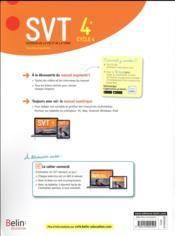 SVT ; 4e ; livre de l'élève (édition 2017) - 4ème de couverture - Format classique