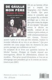 De Gaulle, mon père t.1 ; première partie - 4ème de couverture - Format classique