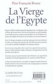 La vierge de l'Egypte - 4ème de couverture - Format classique