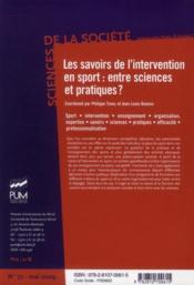 Savoirs de l'intervention en sport : entre sciences et pratiques ? - 4ème de couverture - Format classique