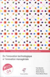 De l'innovation technologique à l'innovation managériale ; management des technologies organisationnelles - Couverture - Format classique
