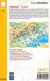 L'Hérault... à pied ; du Haut Languedoc à la Méditerranée (édition 2017) - 4ème de couverture - Format classique