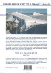 Ski de randonnée ; Isère - 4ème de couverture - Format classique