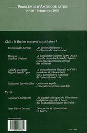 PROBLEMES D'AMERIQUE LATINE N.56 ; Chili : la fin des enclaves autoritaires ? - 4ème de couverture - Format classique