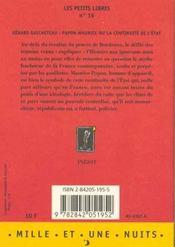 Papon Maurice ou la continuité de l'Etat - 4ème de couverture - Format classique