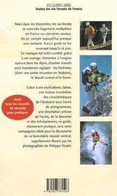 Toutes les via ferrata de France - 4ème de couverture - Format classique