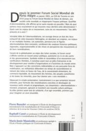 L'altermondialisme ; forums sociaux, résistances et nouvelle culture politique - 4ème de couverture - Format classique