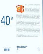 Amnesty International: Rapport annuel 2001, supplément gratuit à la chronique n°175, juin 2001 - 4ème de couverture - Format classique