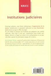 Institutions Judiciaires ; 7e Edition - 4ème de couverture - Format classique