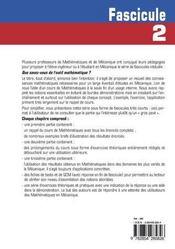 Que Savez-Vous De L'Outil Mathematique ? Fascicule 2 - 4ème de couverture - Format classique