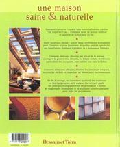 Une maison saine & naturelle - 4ème de couverture - Format classique