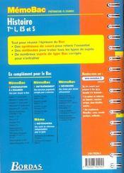 Histoire Tles L, ES et S - 4ème de couverture - Format classique