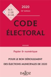 Code électoral, annoté (édition 2020) - Couverture - Format classique