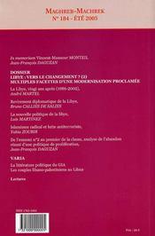 MAGHREB-MACHREK ; Libye : vers le changement? t.2 - 4ème de couverture - Format classique