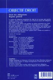 Droit des obligations ; regime general ; 2e edition - 4ème de couverture - Format classique