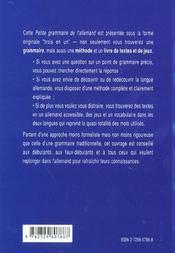 Petite grammaire de l'allemand - 4ème de couverture - Format classique