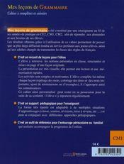 Mes leçons de grammaire ; CM1 ; cahier - 4ème de couverture - Format classique
