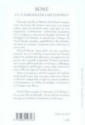 Rome et la naissance de l'art européen - 4ème de couverture - Format classique
