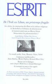 Revue Esprit ; De L'Irak Au Liban, Un Printemps Fragile - Intérieur - Format classique