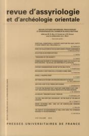 Revue D'Assyriologie Et D'Archeologie Orientale N.107 - Couverture - Format classique