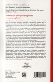 Formation et pratiques enseignantes en contextes pluriels - 4ème de couverture - Format classique