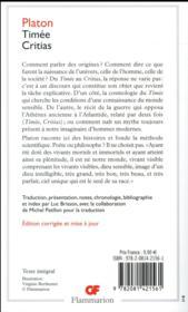 Timée ; Critias - 4ème de couverture - Format classique