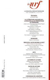 La nouvelle revue francaise N.639 ; novembre 2019 - 4ème de couverture - Format classique