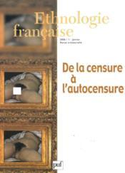 REVUE D'ETHNOLOGIE FRANCAISE N.1 ; de la censure à l'autocensure (édition 2006) (édition 2006) - Couverture - Format classique