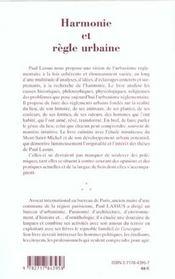 Harmonie Et Regle Urbaine - 4ème de couverture - Format classique