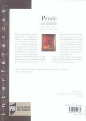 Parole de poesie. lorand gaspard jean grosjean eugene guillevic philippe j - 4ème de couverture - Format classique