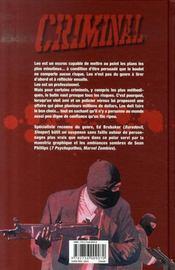 Criminal T.1 ; lâche ! - 4ème de couverture - Format classique