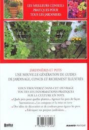 Les Jardinieres Et Pots - 4ème de couverture - Format classique