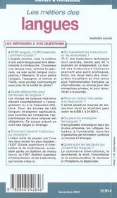Les metiers des langues - 4ème de couverture - Format classique